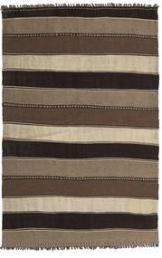 Kelim Matta 139X215 Äkta Orientalisk Handvävd Ljusbrun/Mörkbrun/Svart (Ull, Persien/Iran)