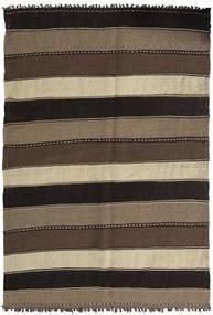 Kilim Alfombra 141X205 Oriental Tejida A Mano Negro/Marrón Claro/Marrón Oscuro (Lana, Persia/Irán)