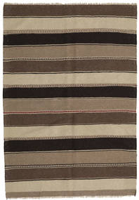 Kilim Rug 144X208 Authentic  Oriental Handwoven Dark Brown/Light Grey (Wool, Persia/Iran)