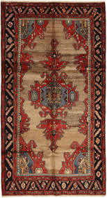 Hamadan Rug 147X277 Authentic  Oriental Handknotted Dark Red/Dark Brown (Wool, Persia/Iran)