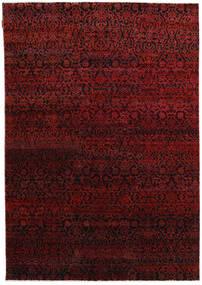 Sari Äkta Silke Matta 173X248 Äkta Modern Handknuten Mörkröd/Mörkbrun (Silke, Indien)