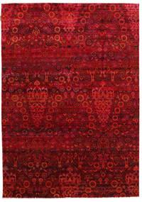 Sari Äkta Silke Matta 173X247 Äkta Modern Handknuten Röd/Mörkröd (Silke, Indien)