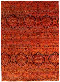 Sari Äkta Silke Matta 174X243 Äkta Modern Handknuten Roströd/Orange (Silke, Indien)