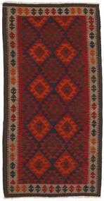 Kelim Maimane Matta 102X201 Äkta Orientalisk Handvävd Svart/Mörkröd (Ull, Afghanistan)