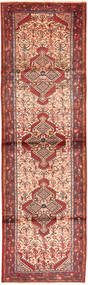 Hamadan Matto 87X300 Itämainen Käsinsolmittu Käytävämatto Tummanpunainen/Vaaleanpunainen (Villa, Persia/Iran)