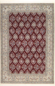 Nain 6La Habibian Rug 210X308 Authentic  Oriental Handknotted Dark Red/Light Brown/Light Grey (Wool/Silk, Persia/Iran)