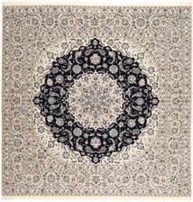 Nain 6La Habibian Matto 257X260 Itämainen Käsinsolmittu Neliö Vaaleanharmaa/Beige/Tummanharmaa/Vaaleanruskea Isot (Villa/Silkki, Persia/Iran)