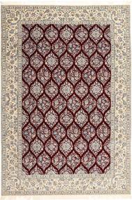 Nain 6La Habibian Teppich 205X300 Echter Orientalischer Handgeknüpfter Hellgrau/Dunkelrot (Wolle/Seide, Persien/Iran)