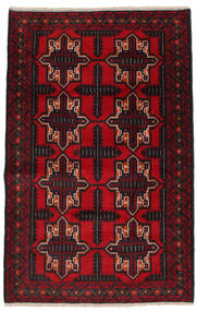 Beluch Tæppe 95X150 Ægte Orientalsk Håndknyttet Sort/Mørkerød (Uld, Afghanistan)