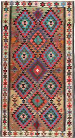 Kelim Fars Teppich 185X355 Echter Orientalischer Handgewebter Schwartz/Braun (Wolle, Persien/Iran)
