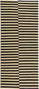 Kelim Moderni Matto 159X375 Moderni Käsinsolmittu Käytävämatto Musta/Keltainen (Villa, Afganistan)
