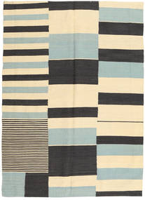 Kilim Modern Rug 127X175 Authentic  Modern Handknotted Beige/Dark Grey (Wool, Afghanistan)