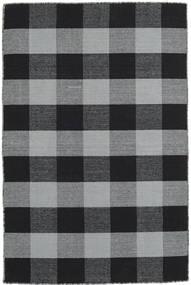 Check Kilim Teppich  120X180 Echter Moderner Handgewebter Hellgrau/Schwartz (Wolle, Indien)