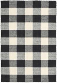 Check Kilim - Noir/Blanc Tapis 120X180 Moderne Tissé À La Main Gris Foncé/Beige (Laine, Inde)