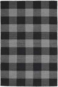 Check Kilim Rug 120X180 Authentic  Modern Handwoven Dark Grey/Black (Wool, India)