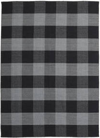 Check Kilim Rug 240X340 Authentic  Modern Handwoven Dark Grey/Black (Wool, India)