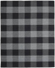Check Kilim Rug 240X300 Authentic  Modern Handwoven Dark Grey/Black (Wool, India)