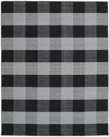 Check Kilim Rug 240X300 Authentic  Modern Handwoven Light Grey/Black (Wool, India)