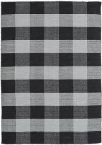 Check Kilim Rug 160X230 Authentic  Modern Handwoven Light Grey/Black/Dark Grey (Wool, India)