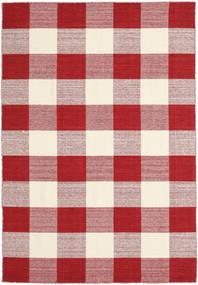 Check Kilim - Rosso/Bianco Tappeto 160X230 Moderno Tessuto A Mano Rosso/Beige/Rosa Chiaro (Lana, India)
