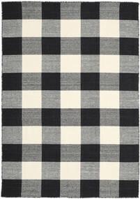 Check Kilim - Negru/White Covor 160X230 Modern Lucrate De Mână Gri Închis/Negru/Bej (Lână, India)