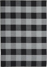 Check Kilim Rug 240X340 Authentic  Modern Handwoven Black/Light Grey/Light Blue (Wool, India)