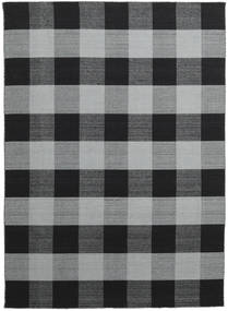 Check Kilim Rug 210X290 Authentic  Modern Handwoven Dark Grey/Black/Light Grey (Wool, India)