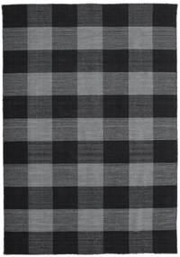 Check Kilim Rug 160X230 Authentic  Modern Handwoven Dark Grey/Dark Blue (Wool, India)
