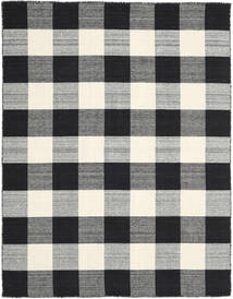 Check Kilim - Black/White Rug 190X240 Authentic  Modern Handwoven Black/Dark Grey/Beige/Light Grey (Wool, India)