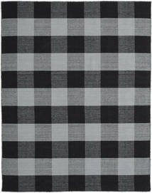 Check Kilim Rug 190X240 Authentic  Modern Handwoven Black/Light Grey (Wool, India)