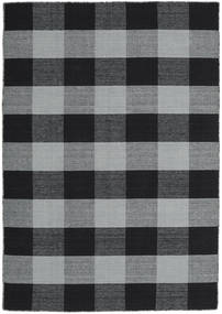 Check Kilim Rug 140X200 Authentic  Modern Handwoven Light Grey/Black (Wool, India)
