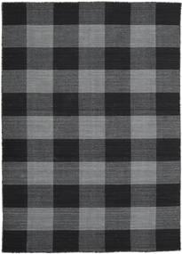 Check Kilim Ковер 140X200 Современный Сотканный Вручную Темно-Серый/Черный (Шерсть, Индия)