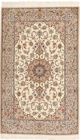 Isfahan Silk Warp Rug 130X212 Authentic  Oriental Handknotted Light Brown/Beige (Wool/Silk, Persia/Iran)
