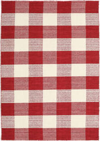 Check Kilim - Czerwony/White Dywan 140X200 Nowoczesny Tkany Ręcznie Beżowy/Ciemnoczerwony (Wełna, Indie)