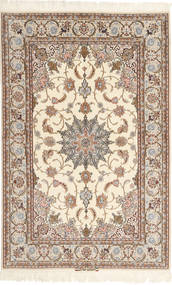 Isfahan Silkesvarp Mazaheri Matta 130X200 Äkta Orientalisk Handknuten Beige/Ljusbrun/Ljusgrå (Ull/Silke, Persien/Iran)