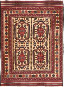 キリム ゴルバリヤスタ 絨毯 192X263 オリエンタル 手織り 深紅色の/濃い茶色 (ウール, アフガニスタン)