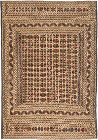 Kilim Golbarjasta Rug 4′1″x6′2″ Authentic  Oriental Handwoven Light Brown/Dark Beige/Dark Brown/Brown (Wool, Afghanistan)