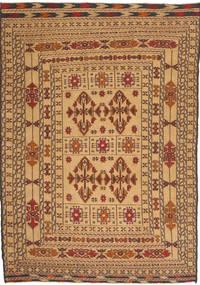 Kilim Golbarjasta Dywan 130X186 Orientalny Tkany Ręcznie Ciemnobeżowy/Ciemnobrązowy (Wełna, Afganistan)