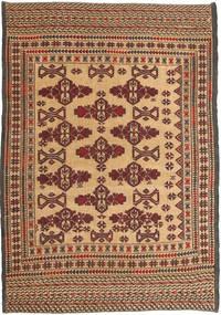 Kelim Golbarjasta Matta 132X195 Äkta Orientalisk Handvävd Mörkbrun/Ljusbrun (Ull, Afghanistan)