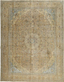 Colored Vintage Rug 295X386 Authentic  Modern Handknotted Olive Green/Light Brown Large (Wool, Persia/Iran)