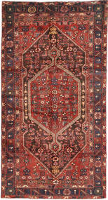 Hamadan Rug 140X266 Authentic  Oriental Handknotted Dark Red/Dark Brown (Wool, Persia/Iran)