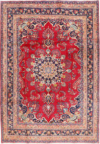 Mashad Rug 207X294 Authentic  Oriental Handknotted Crimson Red/Light Brown (Wool, Persia/Iran)