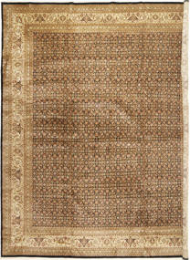 Tabriz Mahi Koberec 371X456 Orientální Ručně Tkaný Světle Hnědá/Tmavá Béžová Velký (Vlna, Indie)