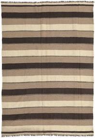 Kilim Tapete 160X215 Oriental Tecidos À Mão Castanho Claro/Cinza Escuro (Lã, Pérsia/Irão)