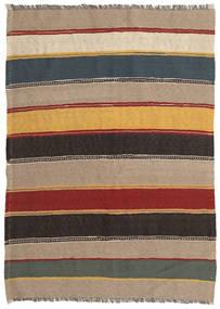 Kilim Szőnyeg 132X193 Keleti Kézi Szövésű Világosbarna/Fekete (Gyapjú, Perzsia/Irán)