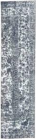 Colored Vintage Rug 78X309 Authentic  Modern Handknotted Hallway Runner  Dark Grey/Light Blue/Beige (Wool, Persia/Iran)