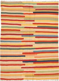 Kilim Dywan 138X187 Orientalny Tkany Ręcznie Ciemnobeżowy/Pomarańczowy (Wełna, Persja/Iran)