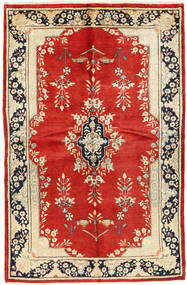 Kerman Matta 140X220 Äkta Orientalisk Handknuten Roströd/Beige (Ull, Persien/Iran)