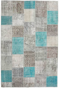 Patchwork Rug 198X300 Authentic  Modern Handknotted Light Grey/Turquoise Blue (Wool, Turkey)