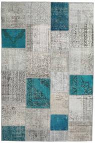 Patchwork Tapis 200X302 Moderne Fait Main Gris Clair/Bleu Turquoise (Laine, Turquie)